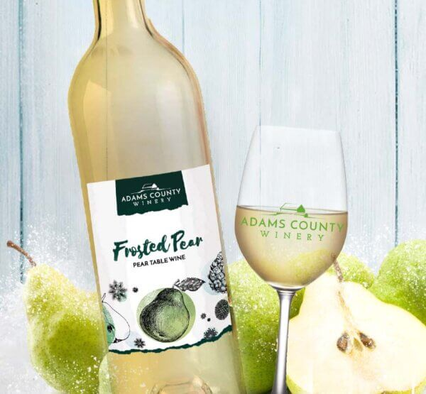 bottle of frosted pear and pears