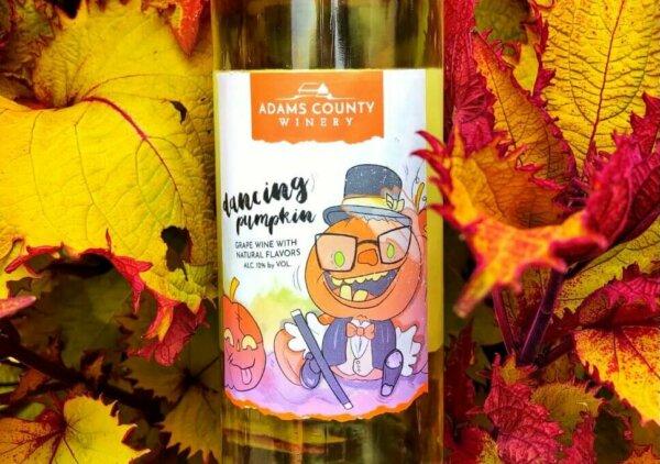 bottle of wine in leaves